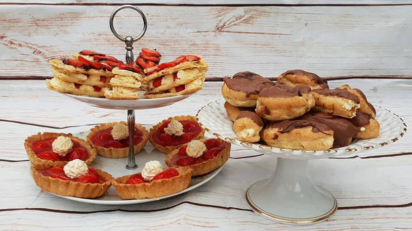 great british bake off bloggers 2018 mille feuille with strawberries and cream, strawberry tarts and chocolate chou buns and eclairs