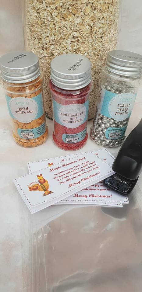 jar of oats, assorted cake decorating sprinkles, stapler, food bags, bag toppers - prepping for Christmas posts