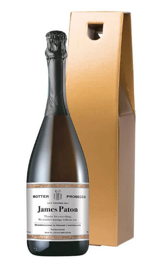 Personalised bottle of prosecco from Prezzy Box