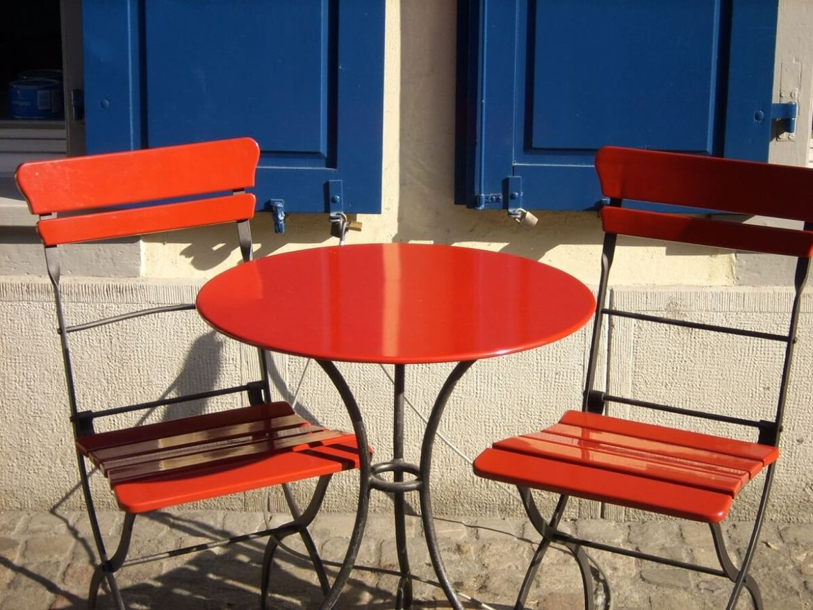 orange outdoor table and chairs
