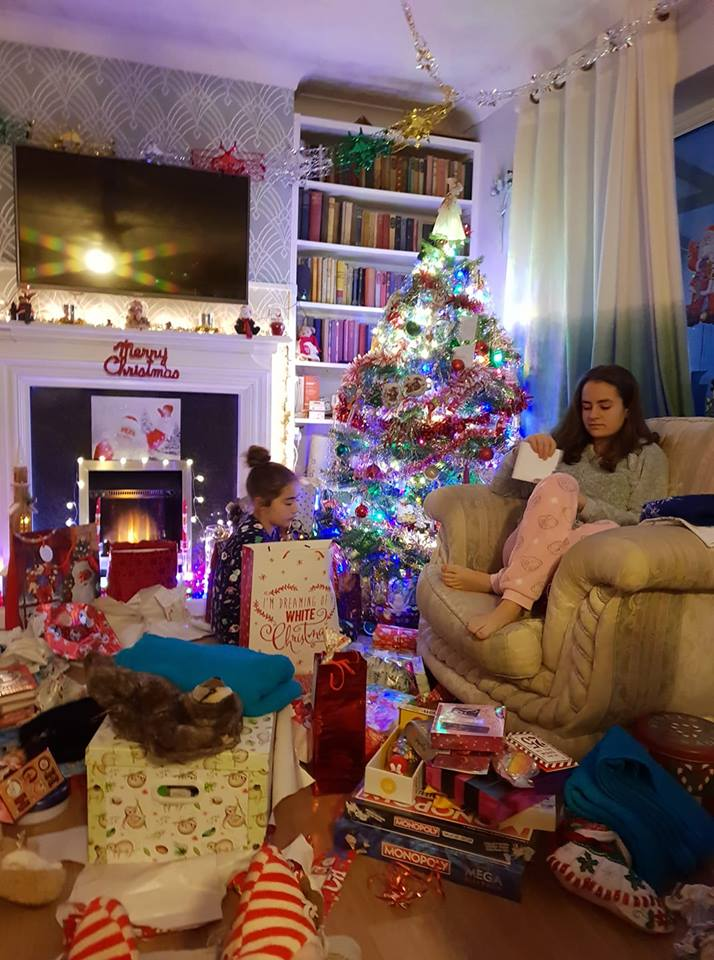 opening presents on Christmas morning