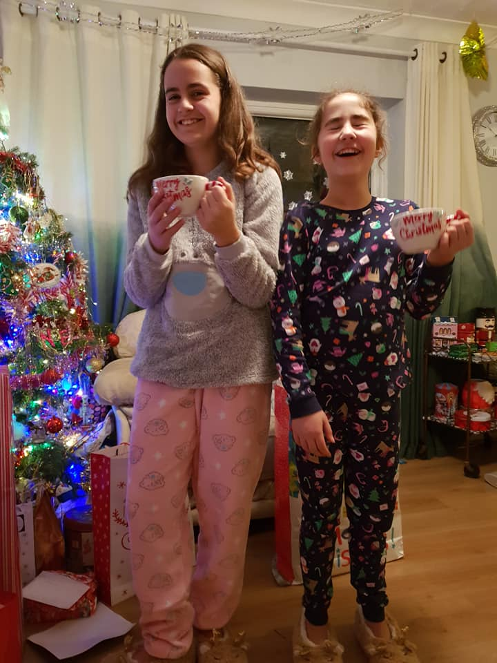 KayCee and Ella in their new pjs