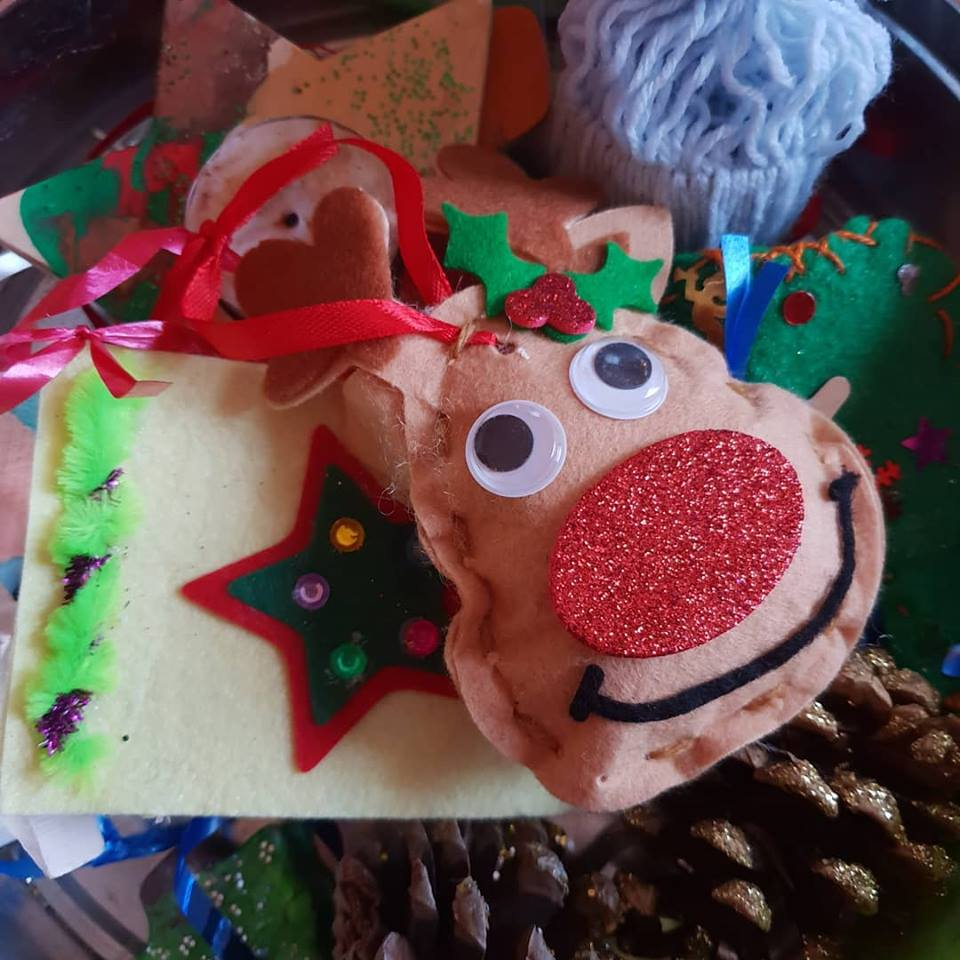 Christmas decorations made by the children