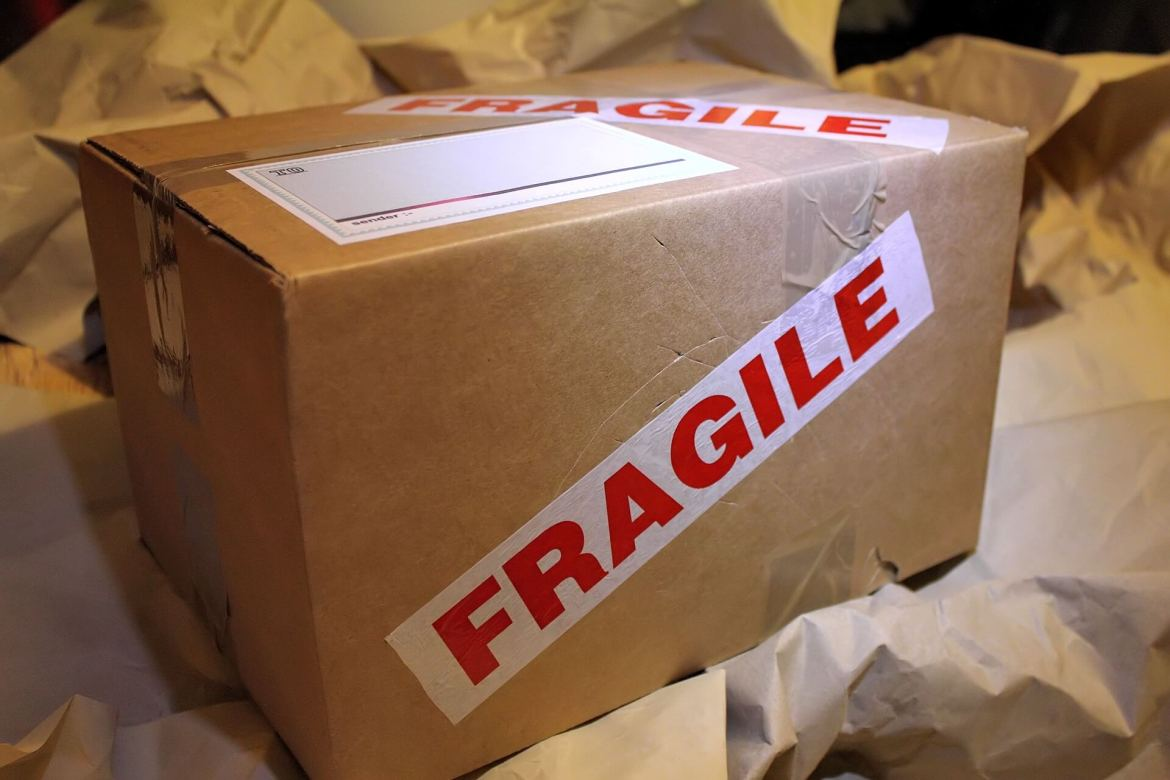 box with Fragile stickers on