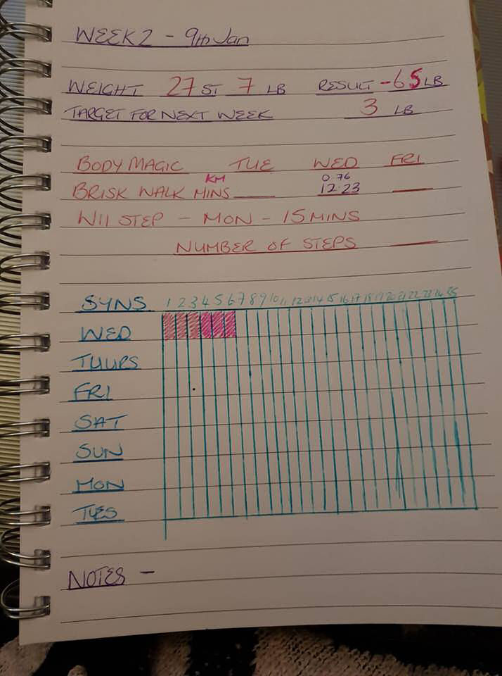 Slimming World - my notebook to record syns and exercise