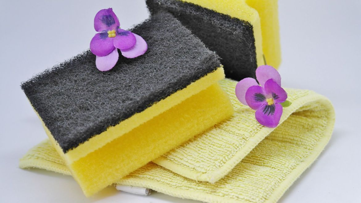 sponge and cloth to clean your home