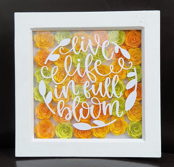 Cricut rolled roses and vinyl frame
