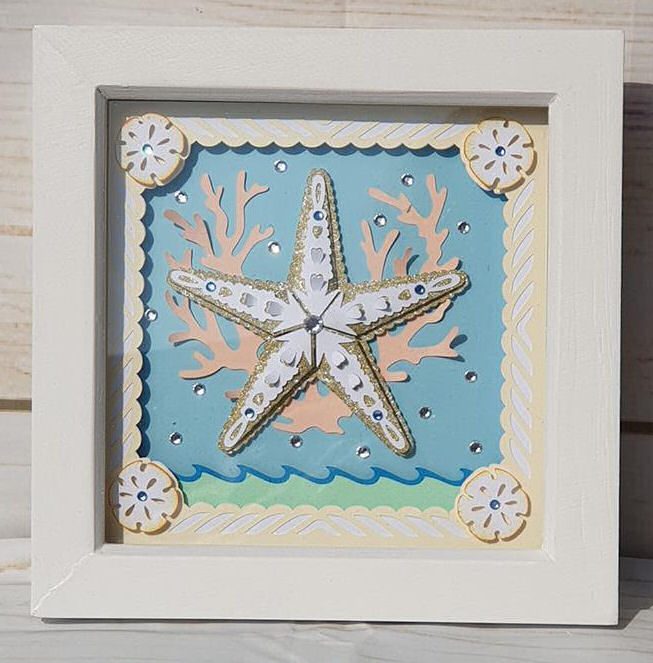 Star fish paper sculpture box frame using Dreaming Tree SVG files and the Cricut maker