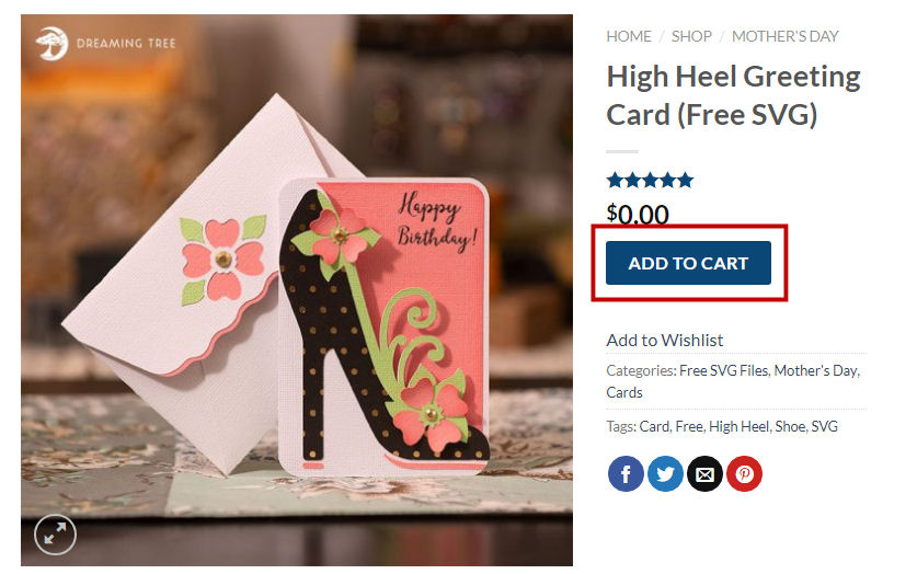 Dreaming Tree high heel card download