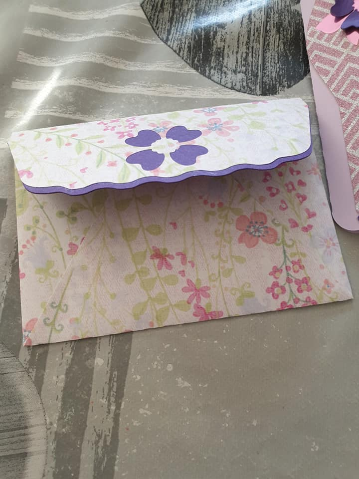 high heel greeting card - stick purple flap to envelope