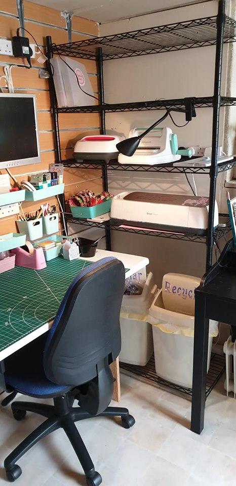 New studio - crafting corner - Cricut machine storage