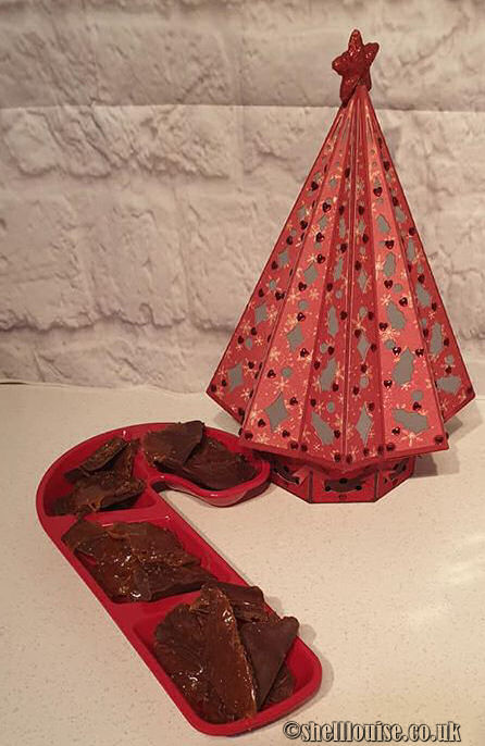 Salted caramel bark in a red candy cane shaped snack tray next to a red patterned paper Christmas tree