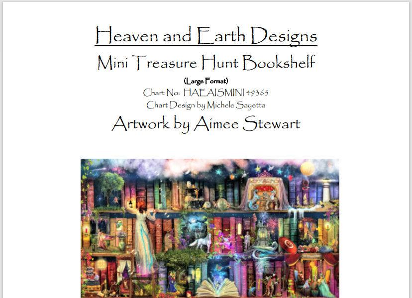 Treasure Hunt Bookcase cross stitch cahrt from Heaven and Earth Designs