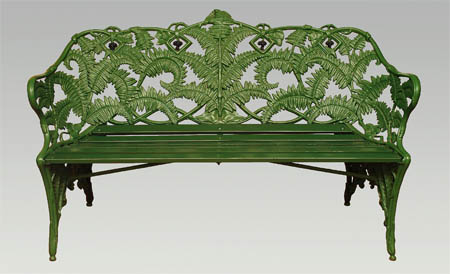 Victorian fern decorated iron cast seat.[5]