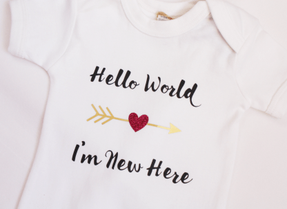 hello world I'm new here baby bodysuit