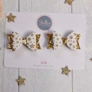 gold star print mini bow clip set
