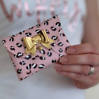blush pink leopard print mini purse