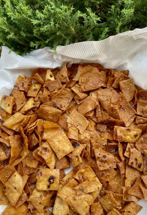 Crispy roti chips on plate