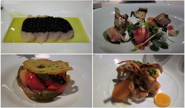 Fluke Crudo with Caviar, Lobster, Soft Shell Crab and Heirloom Tomato Salad - all are amazing