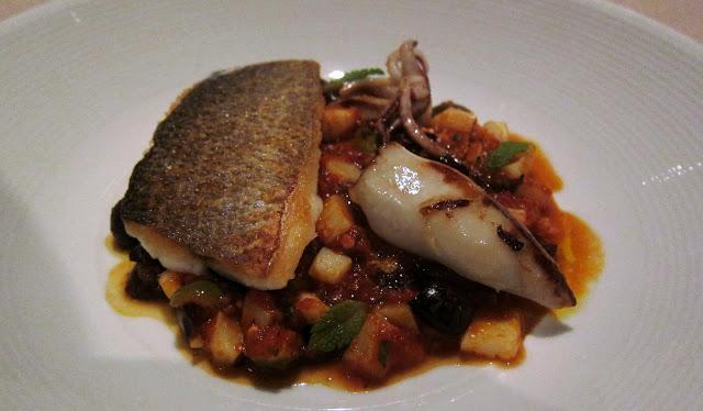 Branzino - Sea bass, in zimino (with vegetables), and Stuffed calamari