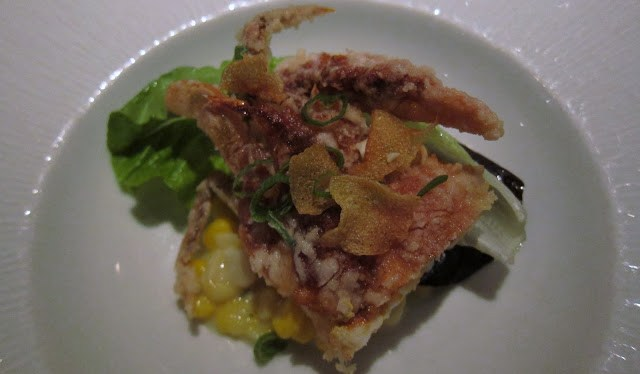 Soft Shell Crab, Fresh Creamed Corn, and Pickled Green Tomatoes