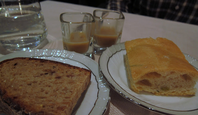 Amuse bouche - soup, and their whole wheat bread and focaccia