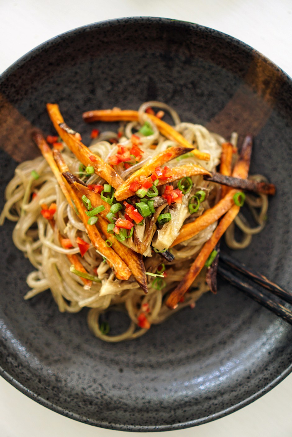 vermicelli with roasted sweet potatoes & mushrooms
