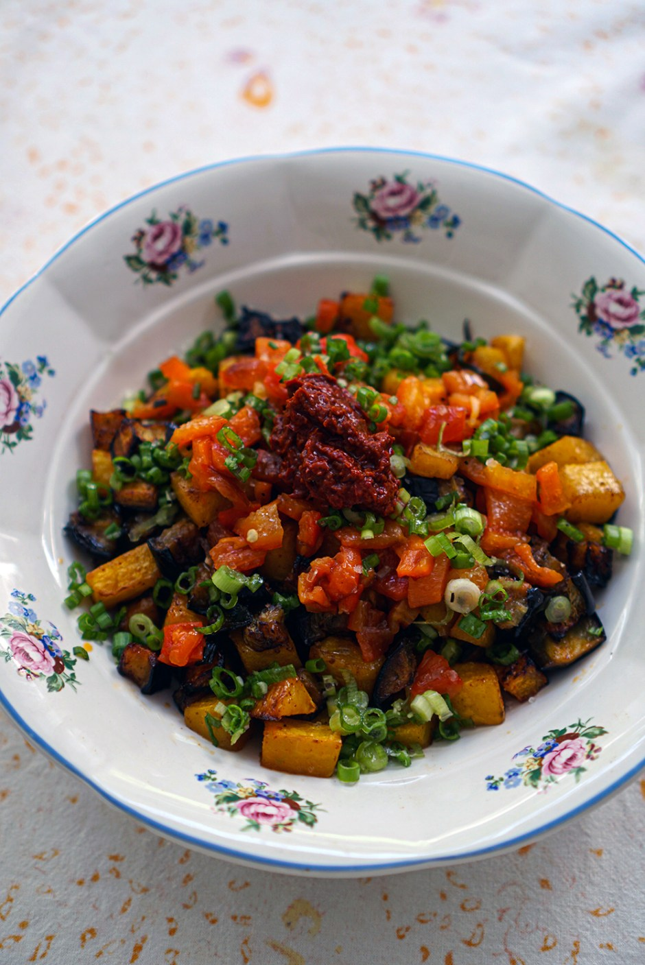 Smoky butternut squash, eggplant & bell pepper salad