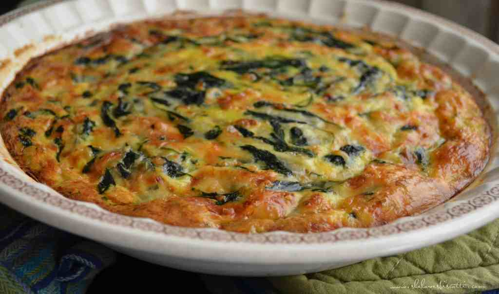 A freshly baked Crustless Spinach Quiche.