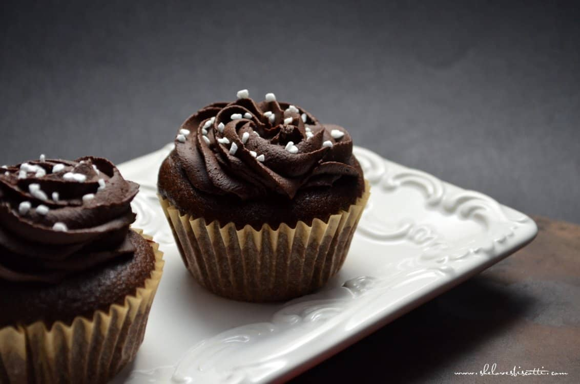 Chocolate Surprise Cupcakes on a white serving dish.