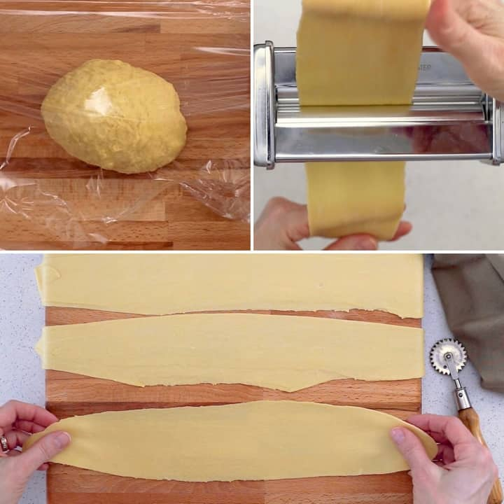 A photo collage of the crostoli or chiacchere dough as it goes through a pasta roller in order to achieve the thinnest dough ever!