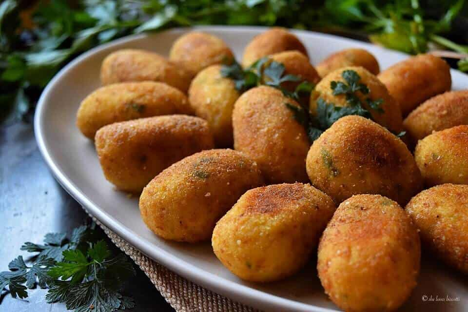 Close up of the potato croquettes.