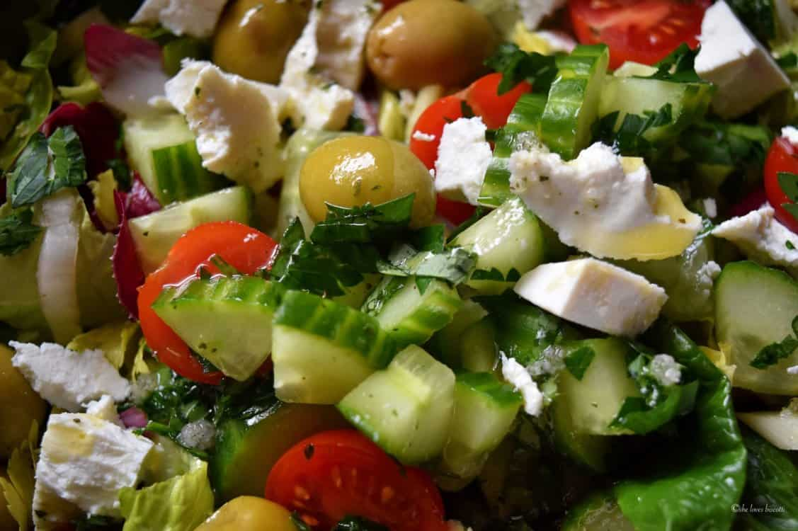 A close up shot of the Best Italian Chopped Salad Greens.