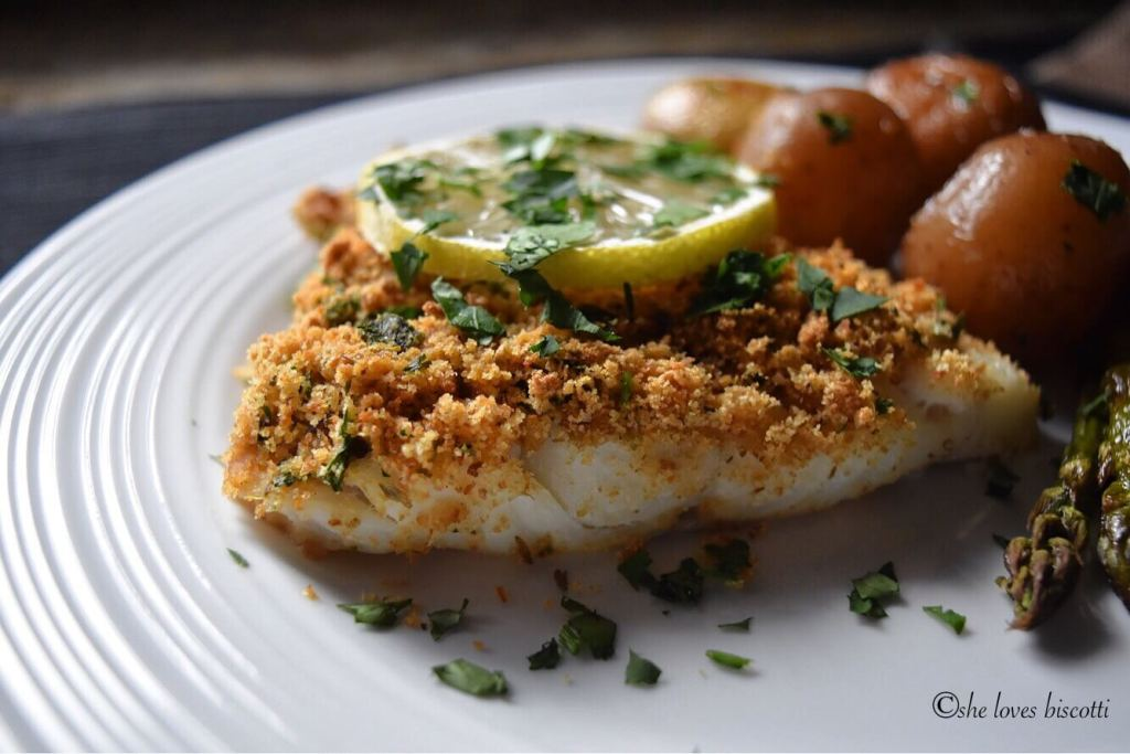 Simple oven baked garlic oregano crusted cod fish she for Baked cod fish recipes
