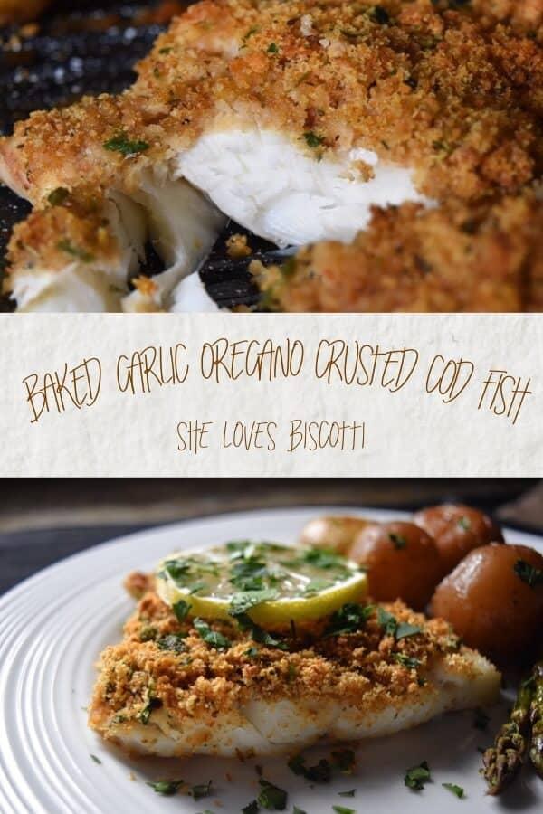 Simple Oven Baked Garlic Oregano Crusted Cod Fish