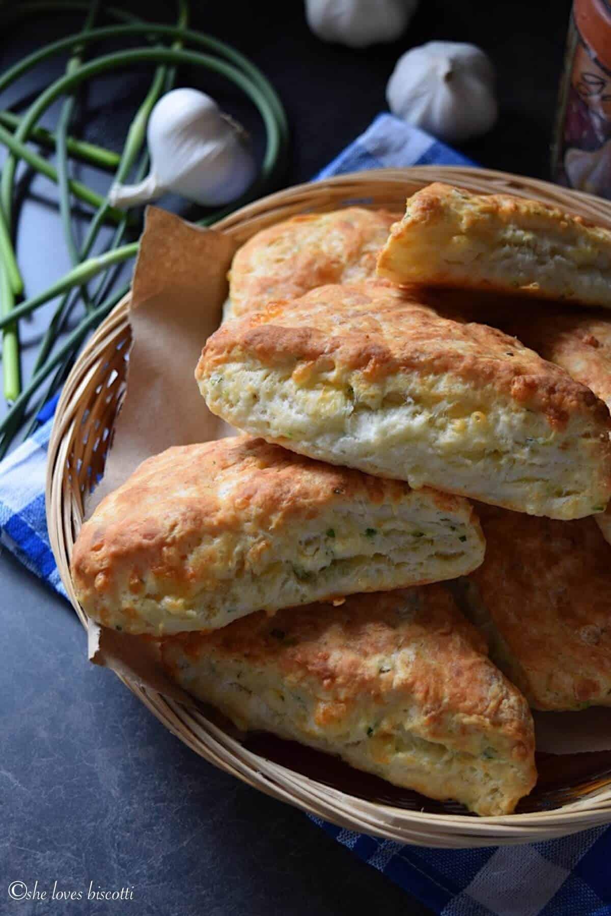 Cheesy Garlic Scape Buttermilk Biscuits