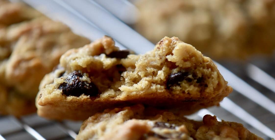 The soft interior of the Thick and Chewy Oatmeal Chocolate Chip Cookie.