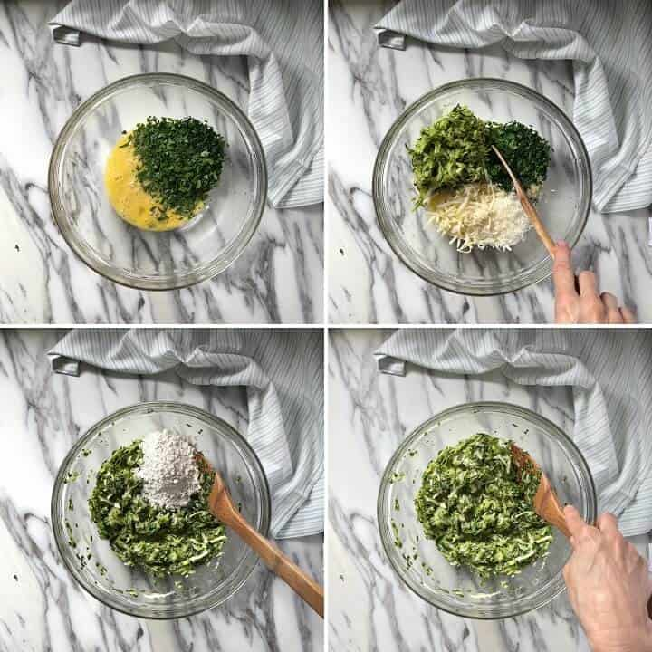 A step by step procedure of the ingredients used to make the zucchini fritters, like eggs, cheese, herbs, and flour.