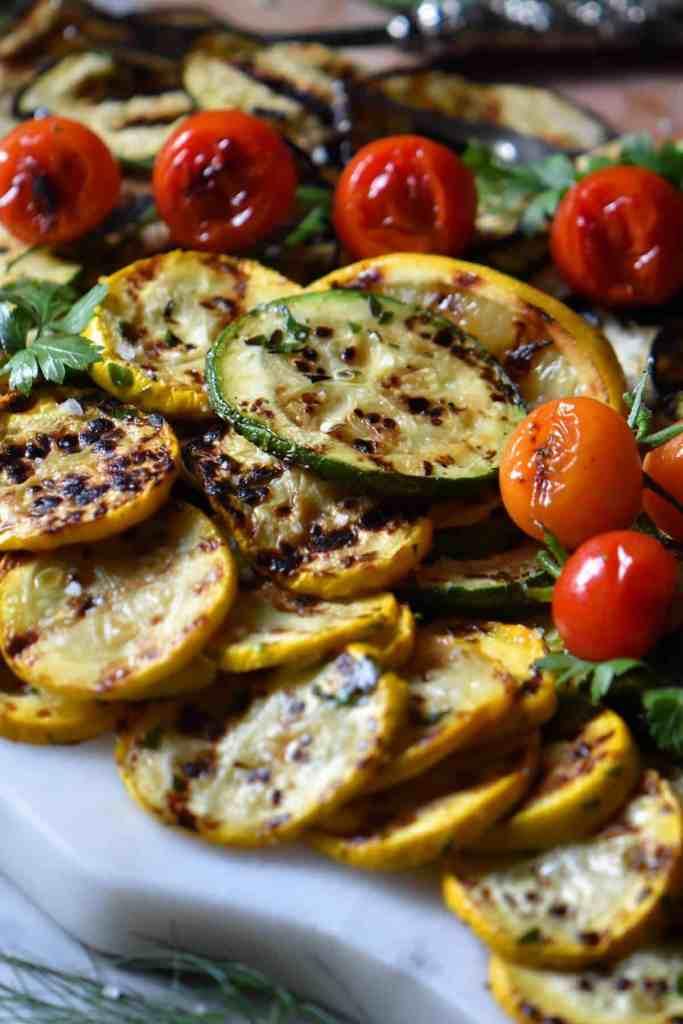 A platter of Italian grilled veggies.