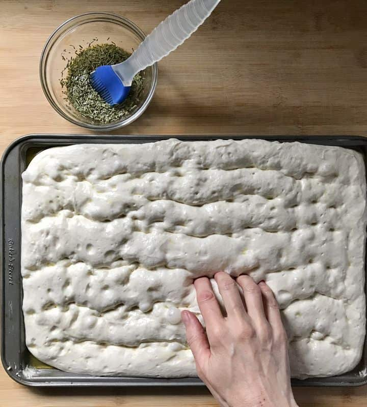 Fingertips are making small dimples in the focaccia dough.