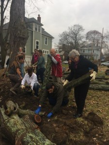 Building a hugel-swale earth work with students