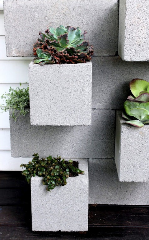 Concrete blocks as garden pots