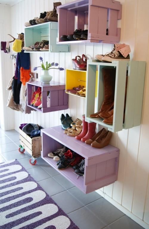 2. DIY Wall Shoe Storage