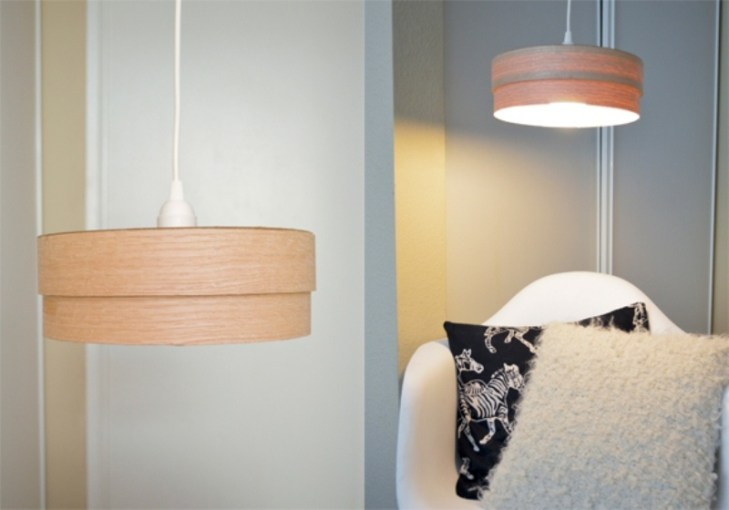 How to  Make a DIY Wood Veneer Pendant Lamp   Curbly This