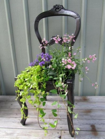 antique chair container planter