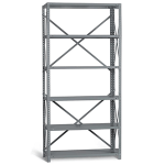 Bolted steel shelving bay 75in high, 6 shelves