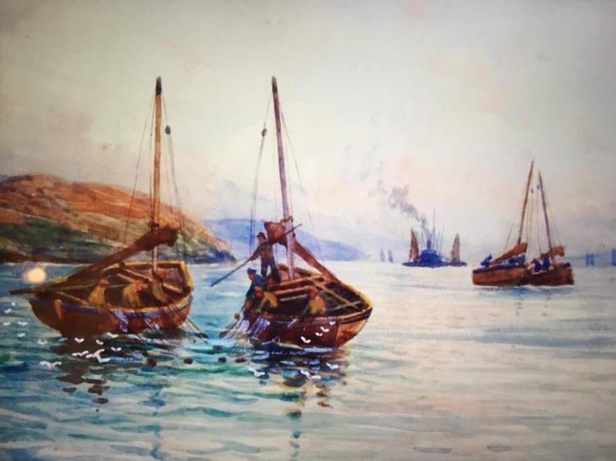 Davif Martin painting Loch Fyne Skiffs