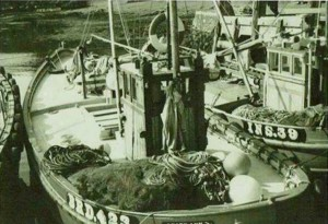 West coast fishing boat with ring net ready for use when shooting the net