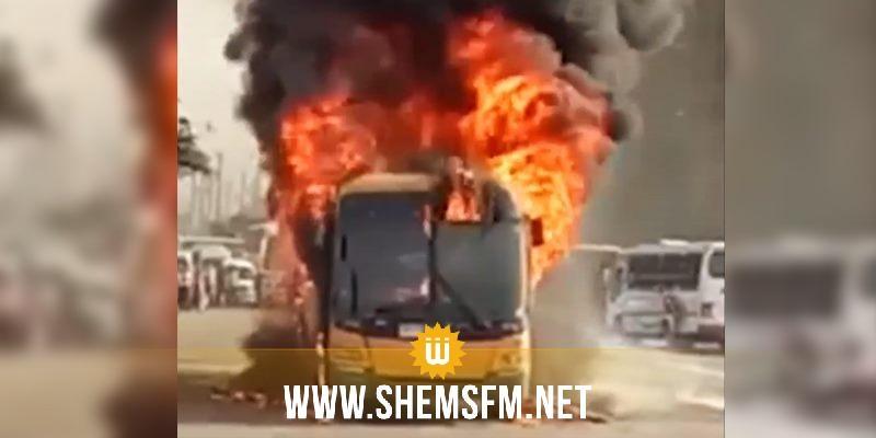 مصر النيران تلتهم حافلة بالكامل بسبب ارتفاع درجات الحرارة Shems Fm