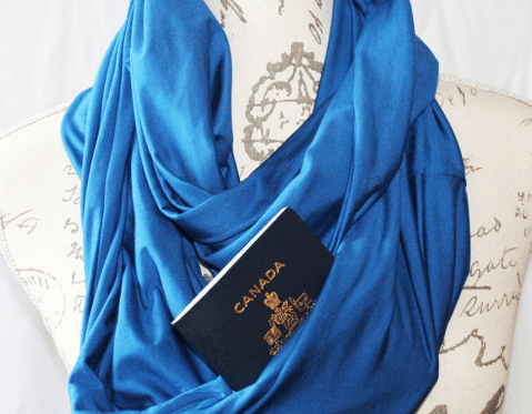 secret pocket infinity scarf travel packing